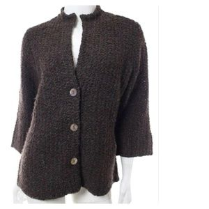 Eileen Fisher Brown Wool Alpaca Sweater Cardigan